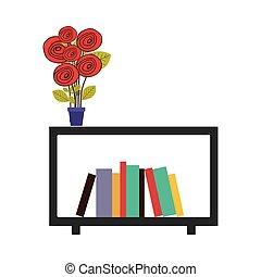 decoratief, kleurrijke, plank, vaas, boekjes , bloemen