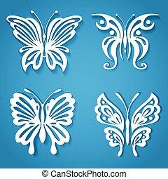 decoratief, knippen, organisch, vlinder, papier, vorm, set, verfraaide, style.