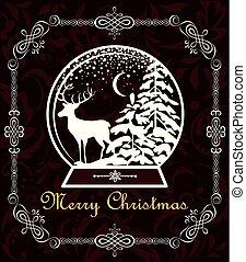 decoratief, knippen, winter, ouderwetse , globe, groet, kerstmis, rendier, de kaart van het document, zoet, frame, landscape, uit