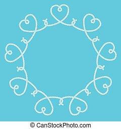 decoratief, knopen, gemaakt, frame, koord, hartjes