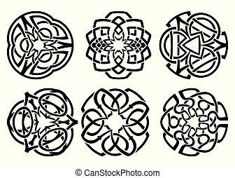 decoratief, knopen, keltisch, ornament, set., krullen, vector
