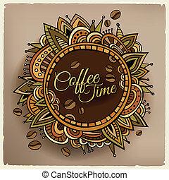 decoratief, koffie, etiket, ontwerp, tijd, grens