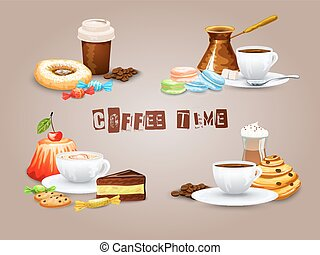 decoratief, koffie stel, iconen