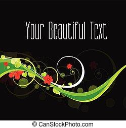 decoratief, kolken, floral, achtergrond