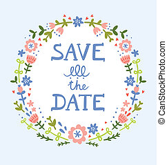 decoratief, krans, datum, floral, sparen, samenstelling