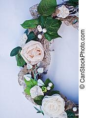 decoratief, krans, kant, maretak, kunstmatig, bladeren, bloemen, verfraaide