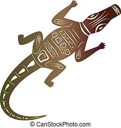 decoratief, krokodil, witte achtergrond