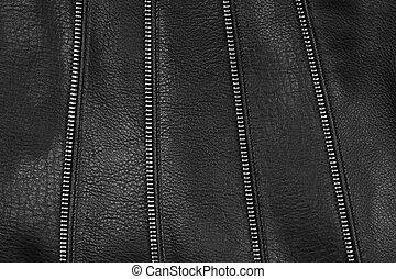 decoratief, leder, detail, textuur, black , zips