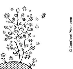 decoratief, lente, boompje, kaart