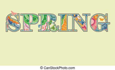 decoratief, lente, tekst