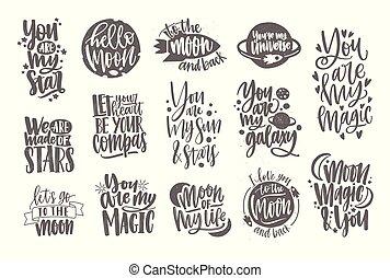 decoratief, lettering, liefde, illustration., elements., achtergrond., vrijstaand, calligraphic, romaans, elegant, geschreven, vector, romantische, cursief, monochroom, witte , lettertype, verfraaide, inscripties