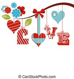 decoratief, liefde, op, illustratie, vector, woord, witte