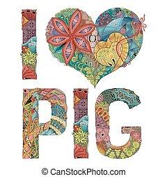 decoratief, liefde, voorwerp, pig., vector, woorden, zentangle