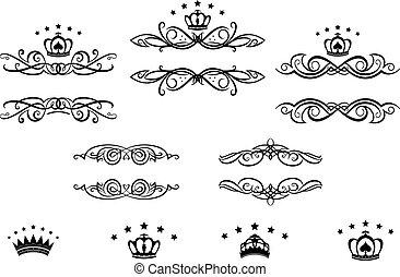 decoratief, lijstjes, met, kroontjes