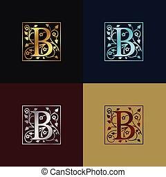 decoratief, logo, b, brief