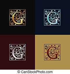 decoratief, logo, brief g