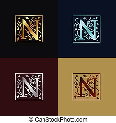 decoratief, logo, brief n