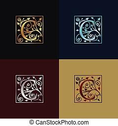 decoratief, logo, c, brief