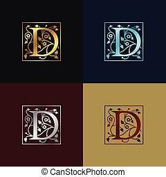decoratief, logo, d, brief