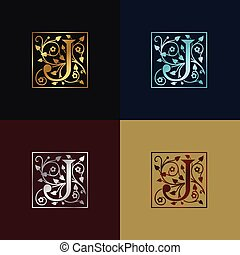 decoratief, logo, j, brief