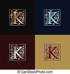 decoratief, logo, k, brief