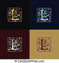 decoratief, logo, l, brief