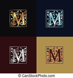 decoratief, logo, m, brief
