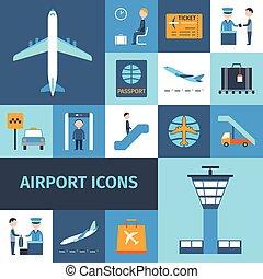 decoratief, luchthaven, set, iconen