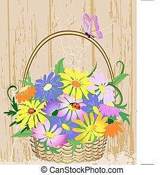 decoratief, mand, bloemen