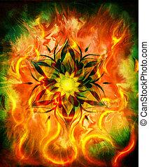 decoratief, mandala, kleur, abstract, vuur, oosters, achtergrond, flame.