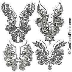 decoratief, mode, neckline, verzameling, borduurwerk, floral