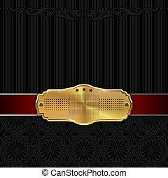 decoratief, motieven, achtergrond, frame., goud