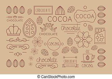 decoratief, of, drink., set, spandoek, kaart, vector, origineel, aromatisch, packaging., cacao, warme, communie, smakelijk, labels., beverage., afdrukken, ontwerp, pralines, lineair