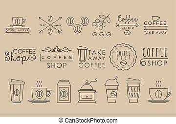 decoratief, of, product, communie, lineair, kop, promo, poster, etiketten, koffie, huisen, origineel, verpakking, warme, vector, smakelijk, shops., beverage., koffiehuis, afdrukken