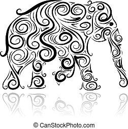 decoratief, ontwerp, silhouette, jouw, elefant