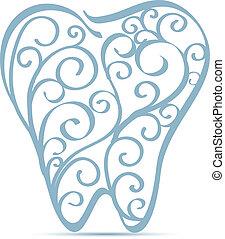 decoratief, ontwerp, tand
