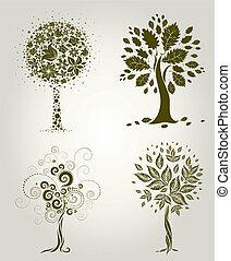 decoratief, ontwerpen, boompje, l
