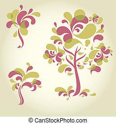 decoratief, ontwerpen, set, boompje