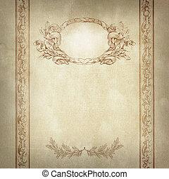 decoratief, oud, border., frame, papier, achtergrond
