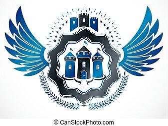 decoratief, oud, embleem, gecreëerde, jas, heraldisch, armen, wreath., gebruik, laurier, kasteel, vleugels