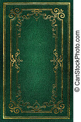 decoratief, oud, goud, leder, frame, textuur, groene