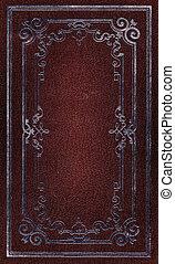 decoratief, oud, goud, leder, frame, textuur, rood