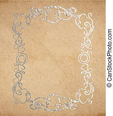 decoratief, oud, ouderwetse , frame, inkt, textuur, papier, sierlijk, zilver