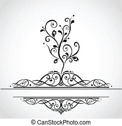 decoratief, ouderwetse , boompje, kaart