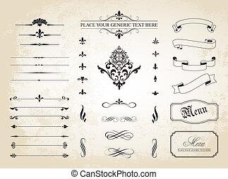 decoratief, ouderwetse , dividers, ornament, randjes, pagina