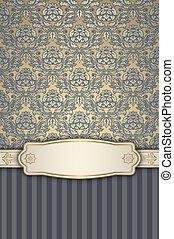 decoratief, ouderwetse , floral, frame., achtergrond