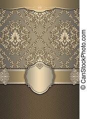 decoratief, ouderwetse , frame, patterns., achtergrond