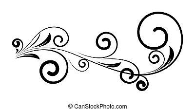 decoratief, ouderwetse , kolken, floral