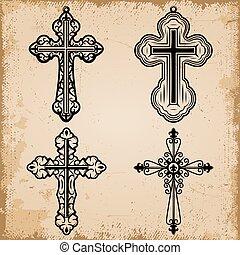 decoratief, ouderwetse , set, religieus, kruisen
