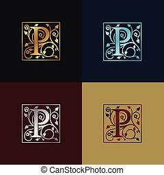 decoratief, p, brief, logo